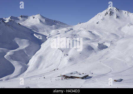 Austria, Tyrol, Serfaus-Fiss-Ladis, skiing area, mountain restaurant, skier, view, alps, mountains, mountains, season, - Stock Photo