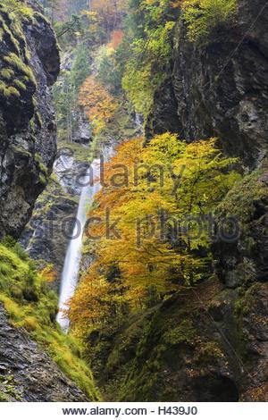 Austria, Pongau, Liechtenstein gorge, waterfall, autumn, - Stock Photo