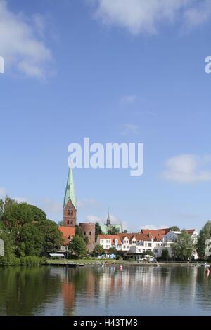 Germany, Schleswig - Holstein, Lübeck, Aegidienkirche, crow pond, - Stock Photo