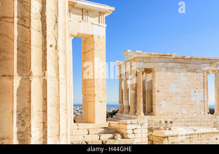 Detail of the Propylaea and the Ionic Temple of Athena Nike on the Acropolis, Athens, Greece - Stock Photo
