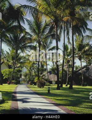 Maskarenen, island Mauritius, west coast, Flic en Flac, hotel facility, bungalows, palms, destination, vacation, - Stock Photo