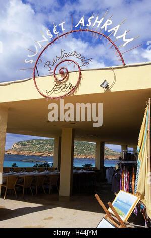 Ibiza, Cala Conta, restaurant 'Sunset Ashram', - Stock Photo