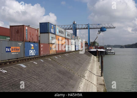 Inland harbour, shipping, Rhine, - Stock Photo