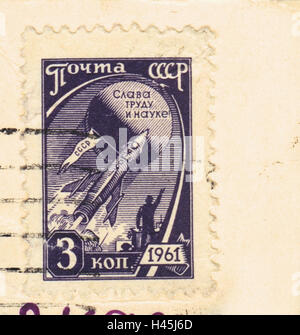 A postage stamp printed in USSR, shows Space flight, 1961 - Stock Photo