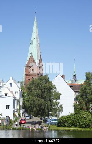 Germany, Schleswig - Holstein, Lübeck, crow pond with Aegidienkirche, - Stock Photo