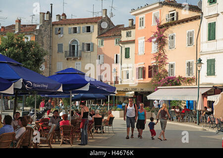 Croatia, Istria, Rovinj, Old Town, harbour, restaurants, tourists, Europe, destination, town, houses, buildings, - Stock Photo