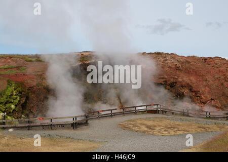 Geothermal area, Springquelle Deildartunguhver, Iceland, - Stock Photo