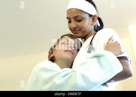Hospital, patient, nurse, embrace, - Stock Photo