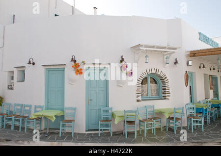 Outdoor cafe in Apollonia, island Sifnos, the Cyclades, Greece, - Stock Photo