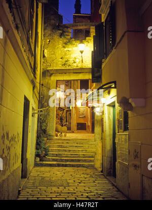 Croatia, Istria, west coast, Rovinj, Old Town, lane, lighting, evening, evening recording, Adriatic, architecture, - Stock Photo