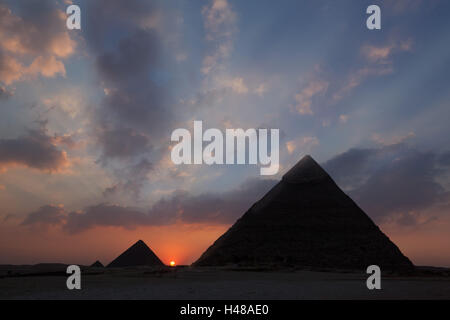 Egypt, Cairo, pyramids of Giza, sunset, - Stock Photo
