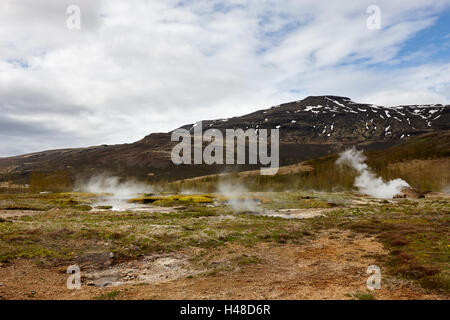 steam rising from geothermal hotspots and small geysers at Geysir site Iceland - Stock Photo