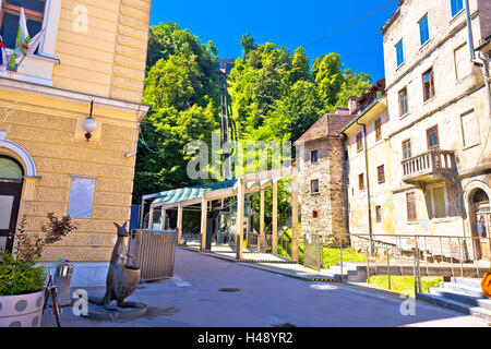 Ljubljana architecture and funicular view, capital of Slovenia - Stock Photo