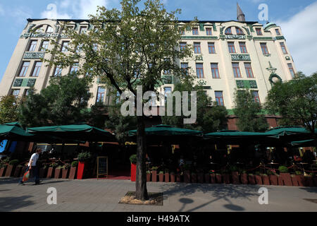 Cafe terraces in front of Hotel Moskva, Terazije square, Belgrade, Serbia, Southeastern Europe - Stock Photo