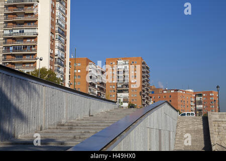 Residential houses at the Río Manzanares, Madrid, Spain, - Stock Photo