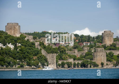 Turkey, Istanbul, Rumelihisar, Ottoman fortress plant, European page, Rumeli in the Istanbul part town Sariyer, - Stock Photo