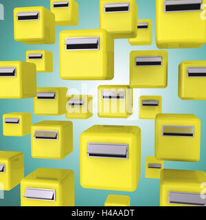 Yellow mailboxes on green background, - Stock Photo