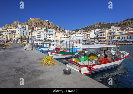 Greece, cirque emotionalism, fishing boats in the harbour of Pigadia, - Stock Photo