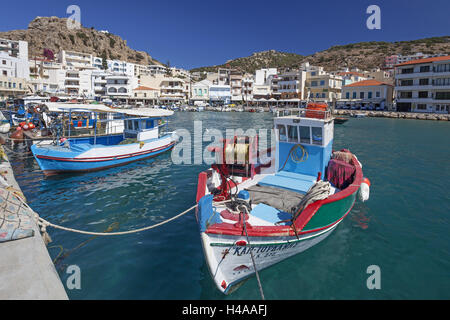 Greece, Karpathos, fishing boats in the harbour of Pigadia, - Stock Photo