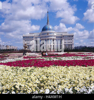 Kazakhstan, Astana, Ak Orda presidential palace, flowers, structure, building, place of interest, outside, government - Stock Photo