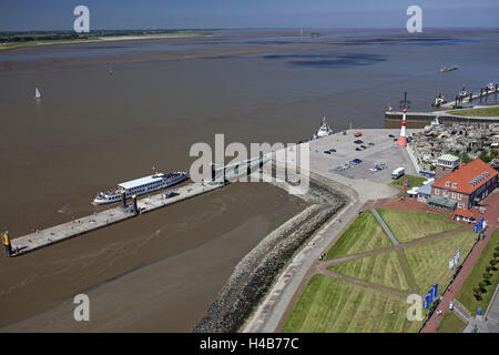 View of the Atlantic hotel of Sail city lookout, the Weser, Seebäderkaje, lighthouse Bremerhaven unterfire, zoo - Stock Photo