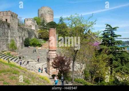 Istanbul, Sariyer, Rumelihisar, in the spring blossom the Judas trees - Stock Photo