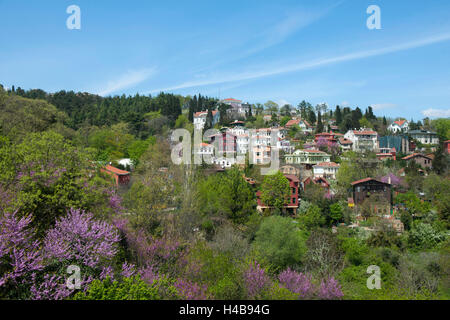 Istanbul, Sariyer, Rumelihisar, residential houses about the castle - Stock Photo