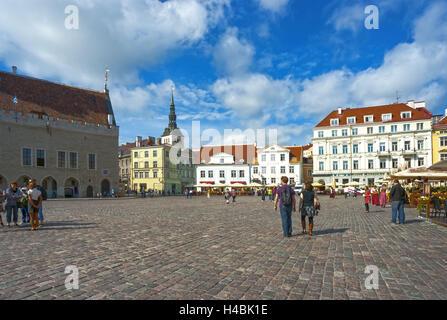 Estonia, city hall and marketplace Tallinn - Stock Photo