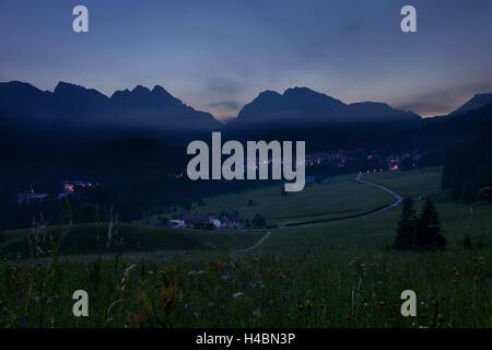San Martino di Castrozza, evening, meadow, view, mountain range, Forcella di Ceremana, Italy - Stock Photo