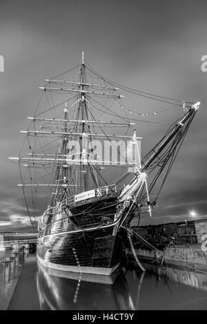 Shiop bow. sea water, boat, vessel, nautical, transportation, blue, ocean, travel, transport, Dundee, Scotland, - Stock Photo