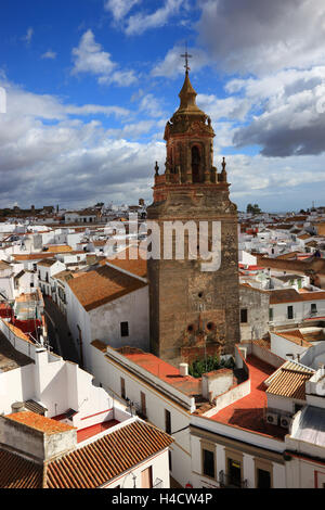 Spain, Andalusia, town Carmona in the province Seville, view Torre del Oro on the church San Bartolome and the Old - Stock Photo