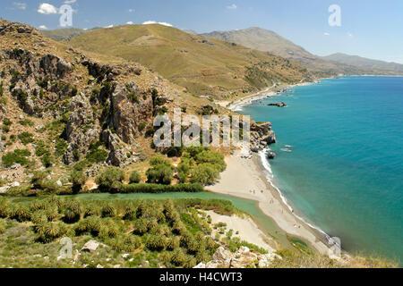Preveli-beach, Rethimnon-district, south coast, Crete, Greece - Stock Photo