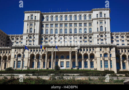 The parliament palace, in Roumanian Palatul Parlamentului, also known as of a house the people, Casa Poporului, - Stock Photo
