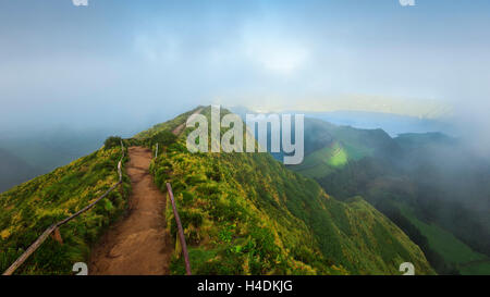 Lookout on Sete Cidades, Sao Miguel, the Azores, Portugal - Stock Photo