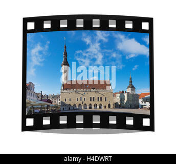 The Tallinn town hall is located in the old town of Tallinn, Estonia, Baltic States, Europe - Stock Photo