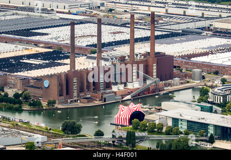 Aerial view, Volkswagen Wolfsburg plant with cogeneration VW South Street, Lower Saxony, Germany - Stock Photo