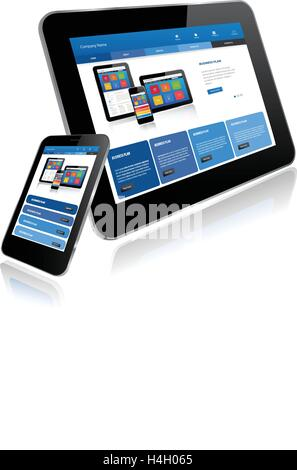 Tablet and Smart phone. Responsive website template on multiple devices - Stock Photo