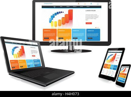Responsive website template on multiple devices - Stock Photo