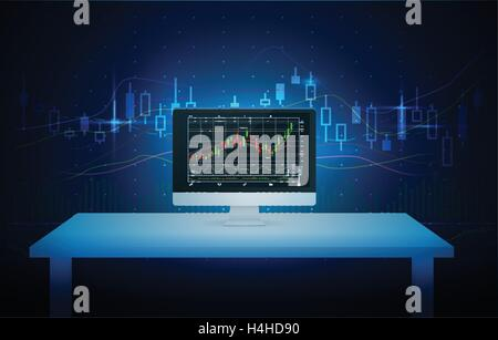 Computer showing stock chart on screen with blue theme. - Stock Photo