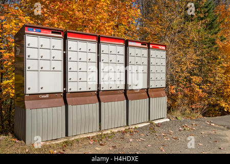 Rural Canada Post Mailboxes In Laurentides, QC, CANADA,  in Autumn - Stock Photo
