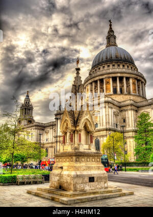 View of St Paul's Cathedral in London - England - Stock Photo