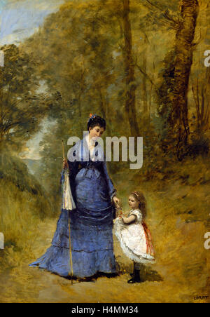 Jean-Baptiste-Camille Corot, Madame Stumpf and Her Daughter, French, 1796-1875, 1872, oil on canvas - Stock Photo
