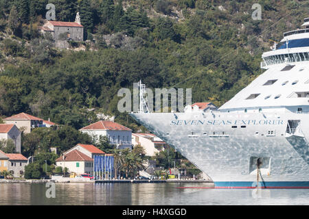 The most luxurious cruise ship in the world, Regent's Seven Seas Explorer berths in the Bay of Kotor - Stock Photo