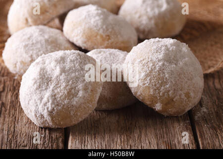 Polvoron freshly baked cookies closeup on wooden table. horizontal - Stock Photo