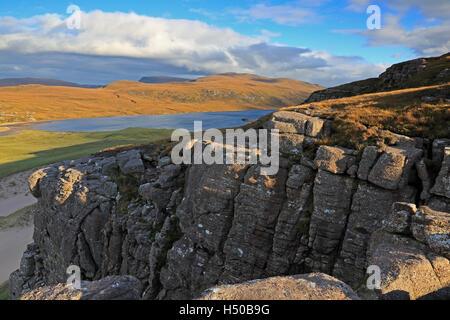 Sandwood Loch in the autumn from Druim na Buiainn Sutherland Scotland - Stock Photo