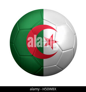 3D rendering of soccer ball wrapped in Algeria's national flag. - Stock Photo