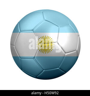 3D rendering of soccer ball wrapped in Argentina's national flag. Isolated on White. - Stock Photo