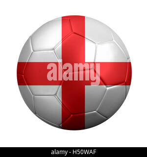 3D rendering of soccer ball wrapped in England's national flag. Isolated on white. - Stock Photo