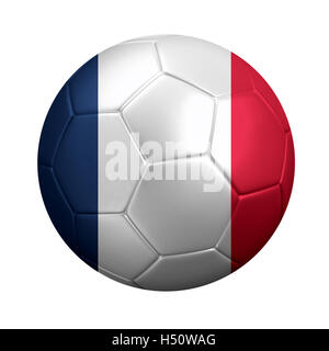 3D rendering of soccer ball wrapped in France's national flag. Isolated on white. - Stock Photo