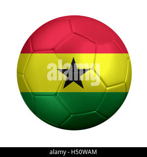 3D rendering of soccer ball wrapped in Ghana's national flag. Isolated on white. - Stock Photo